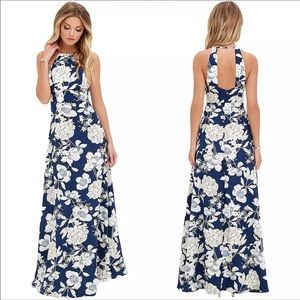 Floral Halter Back Maxi Dress